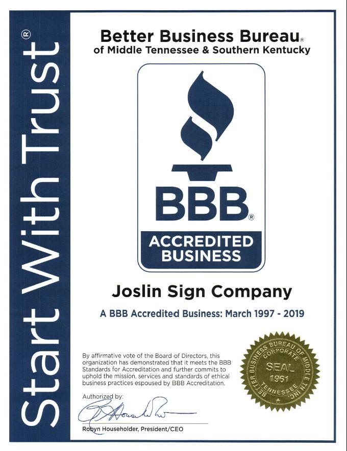 bbb - Joslin & Sons Signs