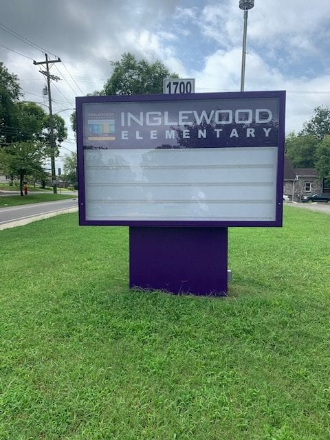 custom school sign for inglewood elementary by a nashville sign company