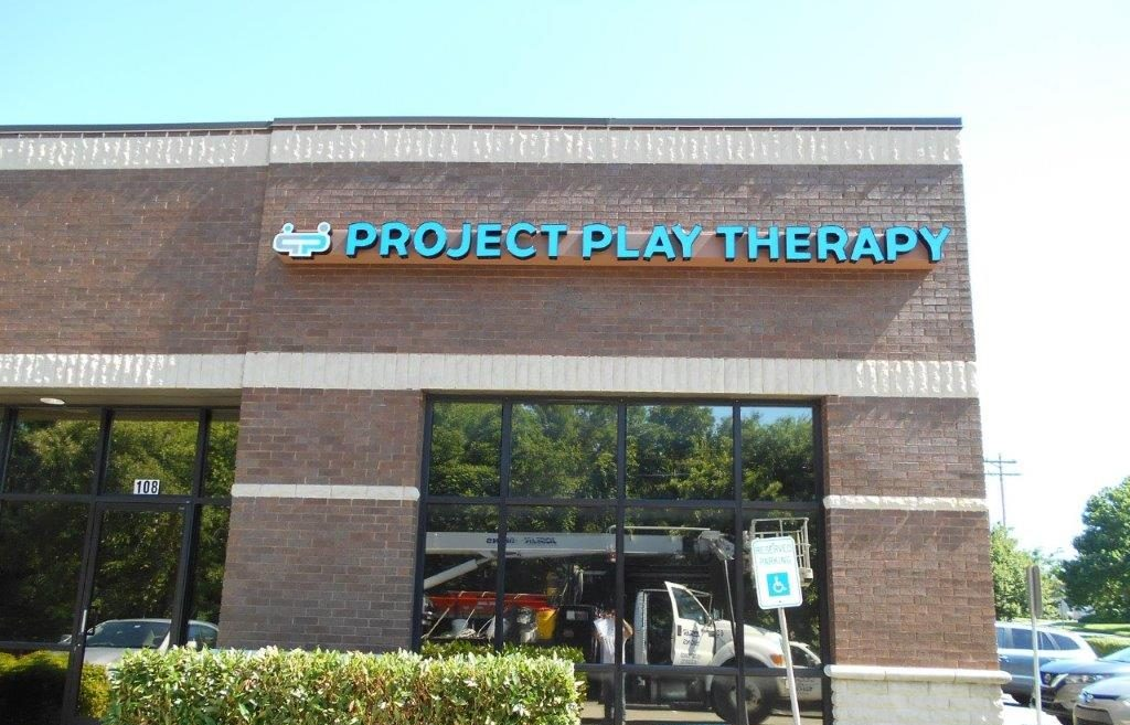 light blue led conversion project play Therapy business sign from Joslin nashville